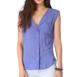 James Perse Soft Shell Sleeveless Blouse Blue S